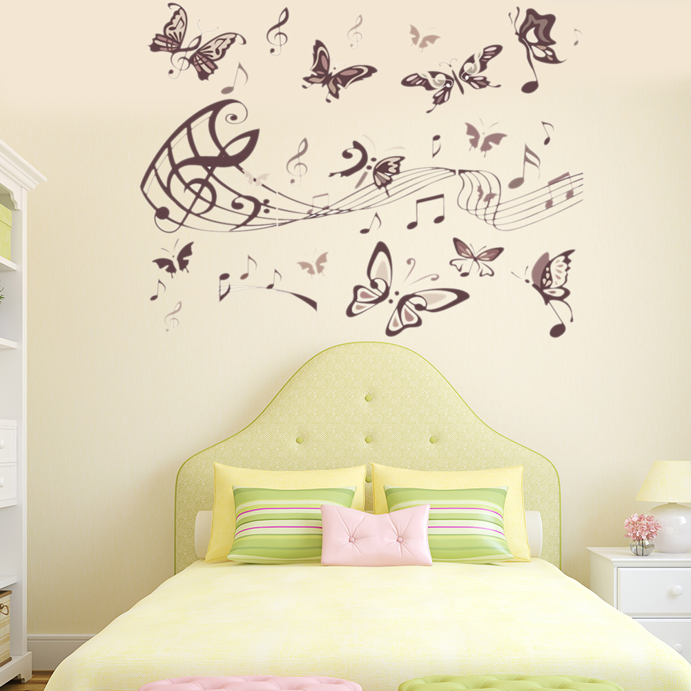 Butterfly Musical Notation Wall Stickers PVC DIY Music Note Stave ...