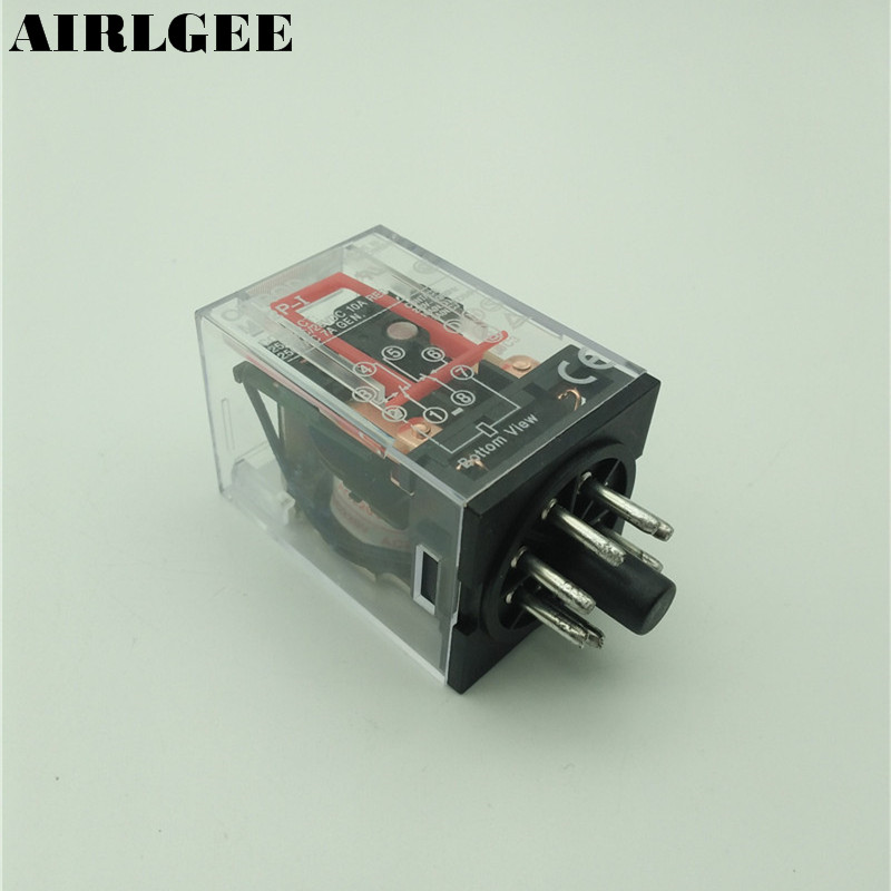 AC 220V/230V Coil Voltage PCB Power Relay 8 Pins DIN Rail DPDT 2NO 2NC MK2P-1  Free Shipping цена и фото