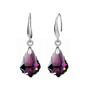 Women's Drop Crystal Earrings Earrings Jewelry Women Jewelry Metal Color: E020 Purple