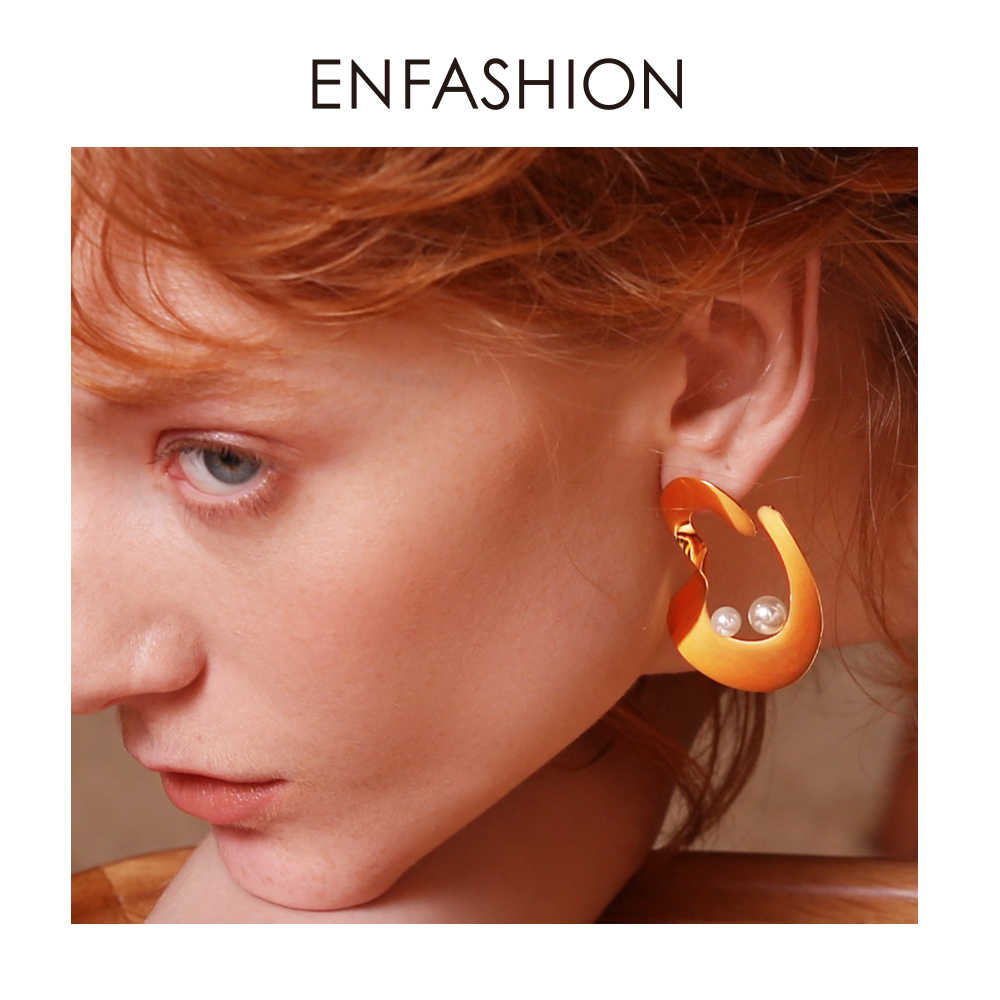 Enfashion Ripple Earring Trendy Geometric Pearl Drop Earrings For Women Earings Fashion Jewelry Pendientes Mujer Moda 2018 E1058