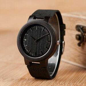 Image 4 - בובו ציפור WC27 גברים של עיצוב מותג יוקרה עץ במבוק שעונים עם עור אמיתי קוורץ שעון ב אריזת מתנה מקבלים oem אישית