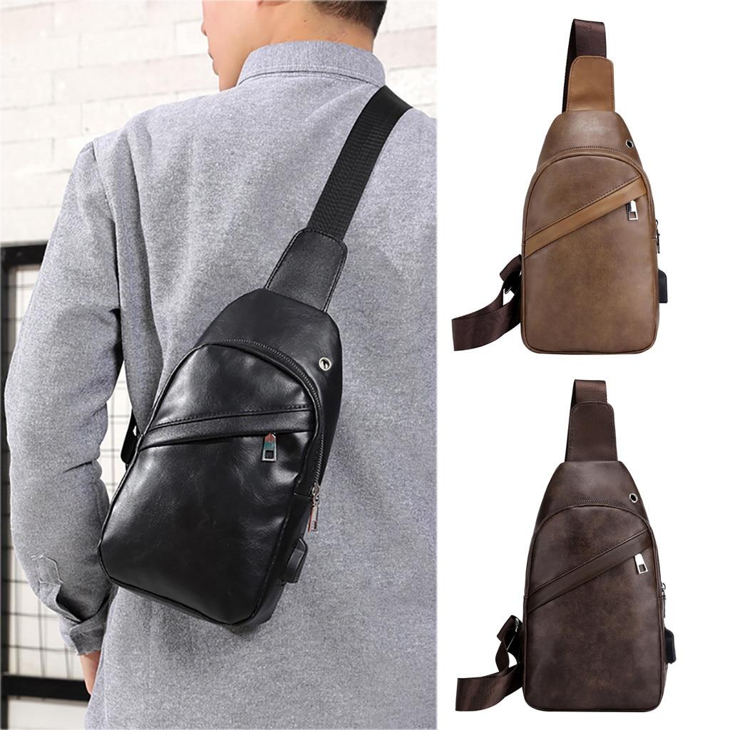 Men's Shoulder Bag Vintage Men Crossbody Bag Men Chest Bags Casual Fashion PU Leather Men Messenger Bag /0.7(China)