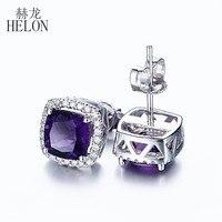 HELON Best ! 6mm Cushion Cut 1.93ct Amethyst Earrings For Women's Jewelry Solid 14K White Gold Natural Diamonds Stud Earrings