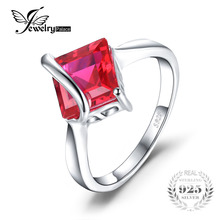 Jewelrypalace классический 3.32 карат площадь создано ruby Обручальные кольца для женщин подарок Твердые 925 Серебряный Подвески ювелирный бренд