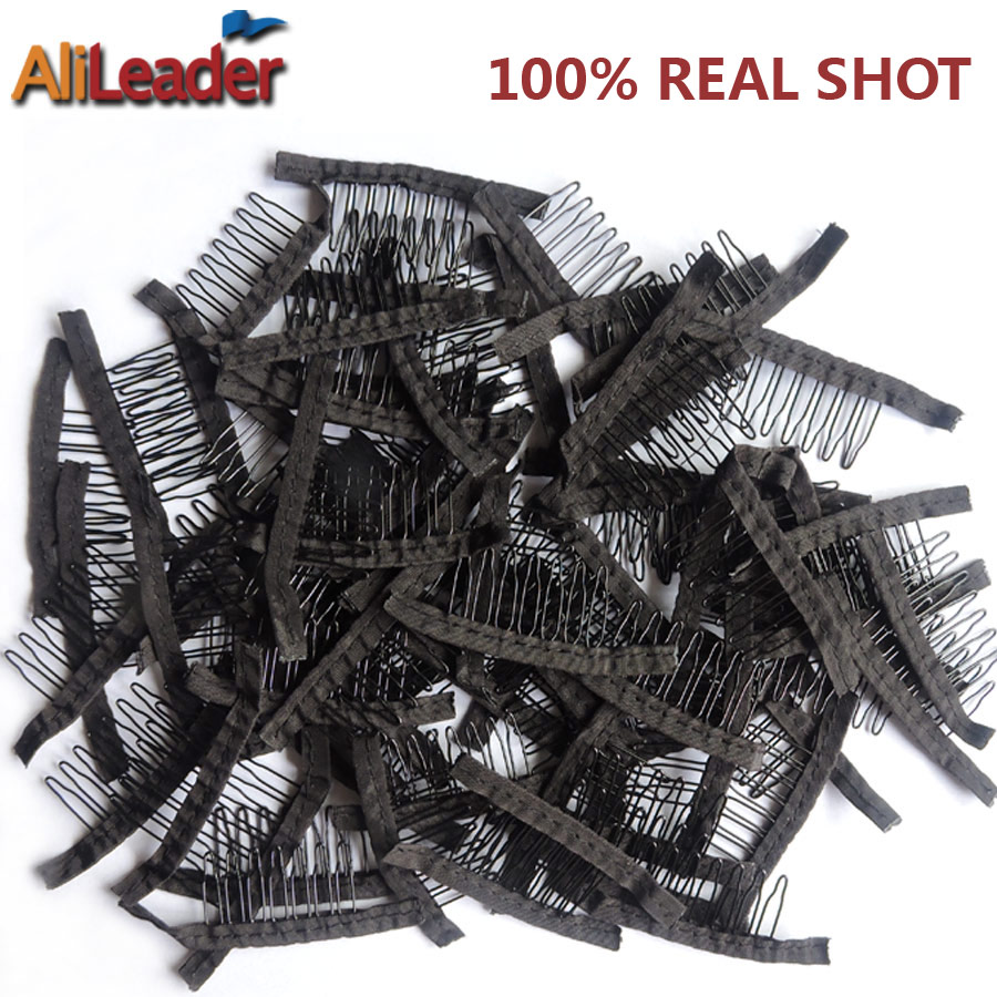 Top Quality Wig Combs Wig Clips 10-500Pcs Black Hair Clips For Wig Steel Tooth Polyester Cloth Durable Clips For Extensions