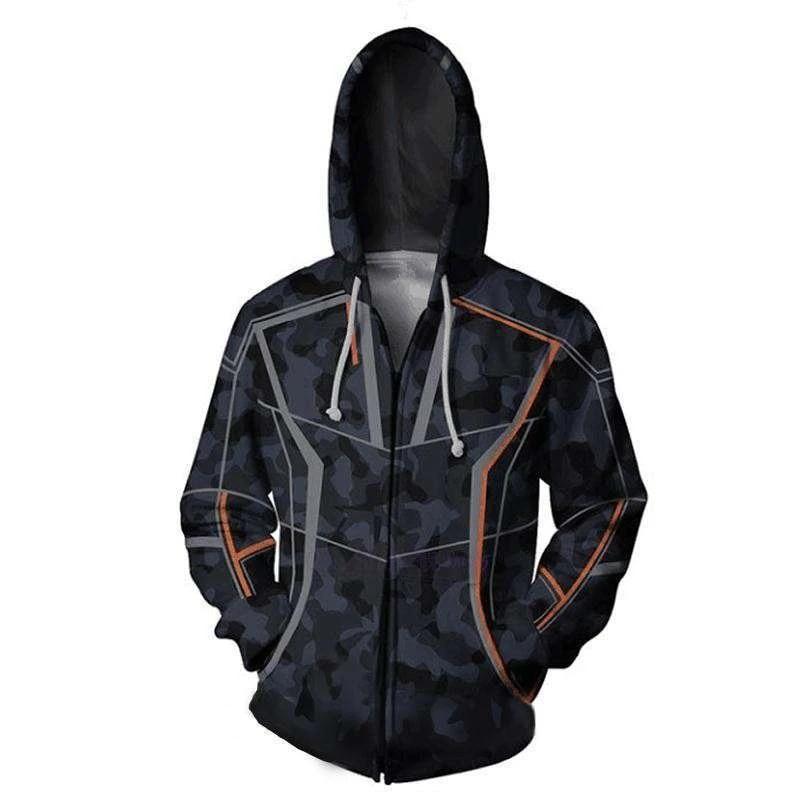 Iron Man Hoodies 3D Print Sweatshirts Zipper Hooded Jacket Casual Coat Top
