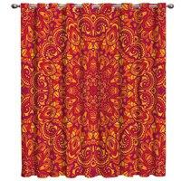Étnico vermelho padrão tratamentos de janela cortinas valance sala estar decoração do quarto ao ar livre indoor crianças janela cortinas sheer