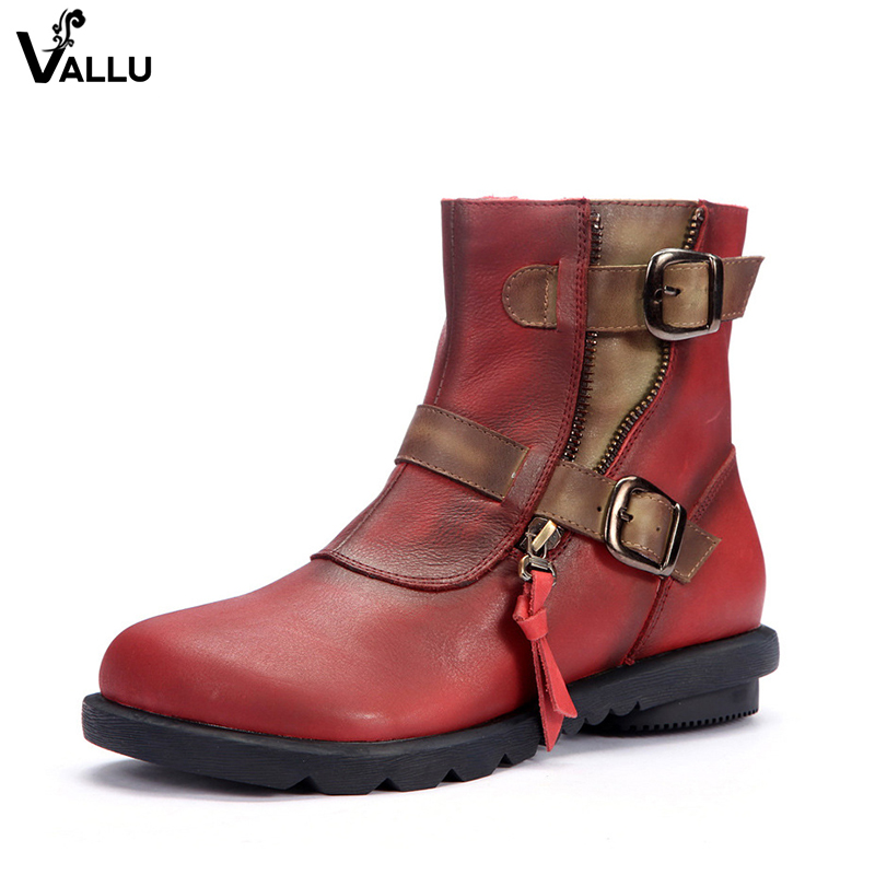 Red Buckle Strappy Female Ankle Boots Latest Zipper Design Women Short Booties Genuine Leather Lady Heel Shoes цена