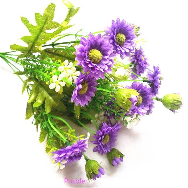 Online Shop Silk Artificial Chrysanthemum Flower Bouquet Purple ...