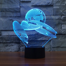 7 Colorful Gradients 3D led Spaceship Space Fighter LED Acrylic Plate Desk Lamp Bedroom Decoration Night Light