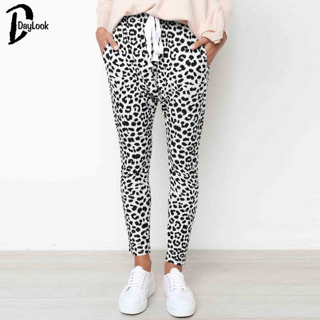 Daylook Leopard print pencil pants capris Sash high waist skinny casual trousers women soft streetwear winter pants 2018