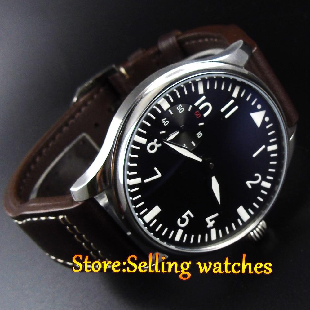 파르 미스 44mm 손 권선 바다 갈매기 백조 목 운동 남자 시계-에서기계식 시계부터 시계 의  그룹 1