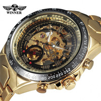 2015 Fashion Brand Winner Stylish Design Classic Men Mechanical Self Wind Dress Skeleton Wristwatch Gift Male