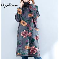 Fleece Lining Thicken Warm Jumper Dress 2019 Women Turtleneck Plus Size Long Sleeve Loose Straight Tunic Floral Print Pullover