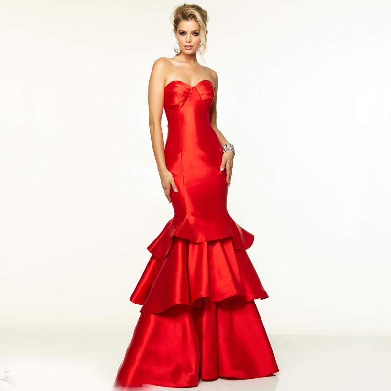 Plain red formal dress