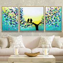 Handmade Modern blue landscape Painting branch birds Oil painting Wall Designs Art 3 Piece Home Decor picture Set With umframed