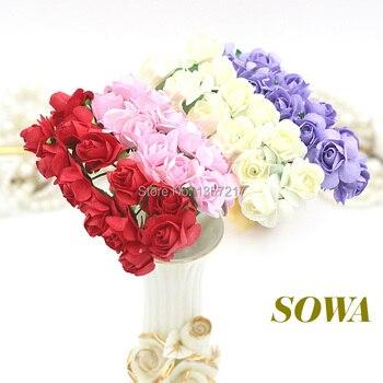 Free Shipping 1440pcs/lot 1-1.5cm head Multicolor Mulberry Paper Flower Bouquet/Wire Stem/ Scrapbooking Artificial Rose Flowers)