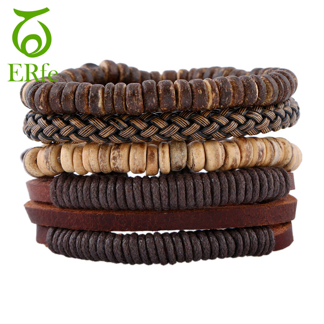 ER 4pcs 1 Set Punk Genuine Wrap Leather Bracelets Men Retro Wood Beads Male Mult