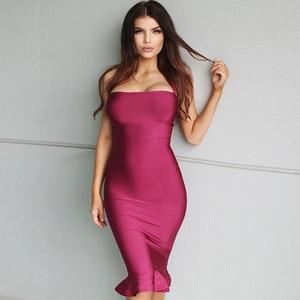 Image 2 - 최신 연예인 파티 붕대 드레스 여성 스파게티 스트랩 Strapless 섹시한 밤 클럽 드레스 여성 인어 Vestidos 도매