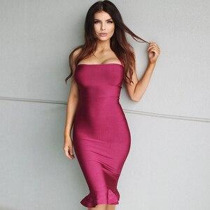 Image 2 - Yeni ünlü parti bandaj elbise kadınlar spagetti kayışı straplez seksi gece kulübü elbise kadınlar Mermaid Vestidos toptan
