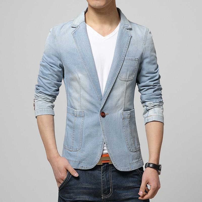 Aliexpress.com : Buy 2017 Denim Jackets suit slim fit Blazer suit ...