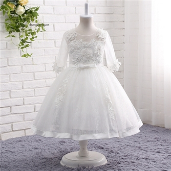 New 2017 White O Neck Ball Gown 1/2 Sleeves Organza Girl Dresses For Weddings Pageant Dresses With Flowers Beadwork TZ002