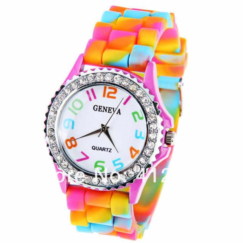 جديد أزياء النساء ساعة ماركة جينيفا سيليكون المطاط ساعات كوارتز عادية التناظرية الرياضة ساعة معصم Relogio Feminino ساعة هدية # D