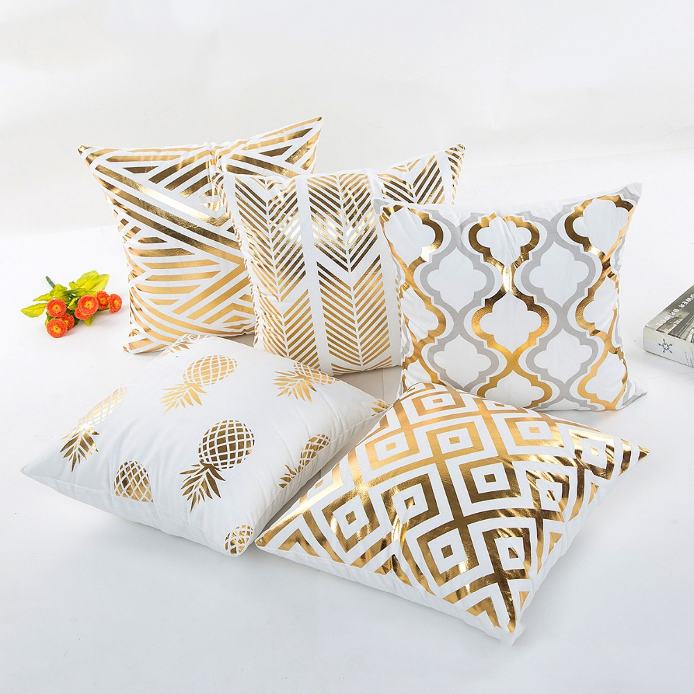 Bronzing Cushion Cover Luxury Geometric Pineapple Cotton Pillow Case White  Sofa Bedroom Home Office Decorative Throw Pillowcases
