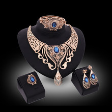 Statement India Style Necklace Earrings Sets Bridal Wedding Party Necklace Water Drop Type Golden Plated Crystal Jewelry Sets(China)