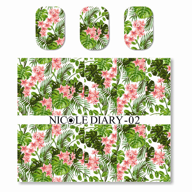 NICOLE DIARY Nail Art Water Tattoo Design Water Transfer Sticker Sheet on Finger Nail Art Water Decals 25935
