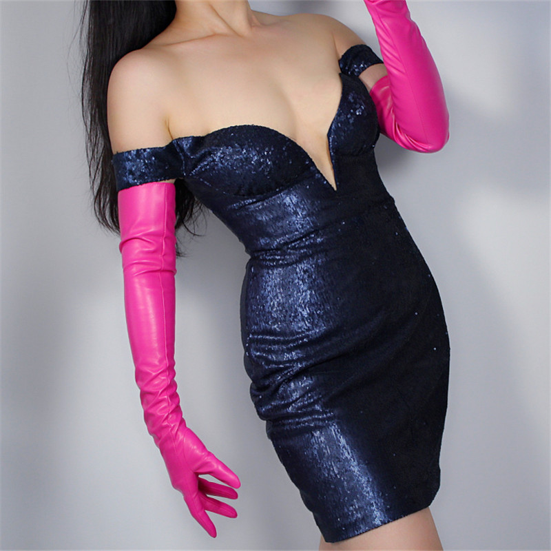 2019 New Extra Long Leather Gloves 60cm Long Over Elbow Emulation Leather Sheepskin PU Female Rose Red Dark Pink WPU11