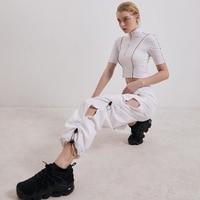 Side Hollow Out Pleated Plus Size Baggy Pants Women Elastic High Waist Sweatpants Womens Hippie Trousers Streetwear