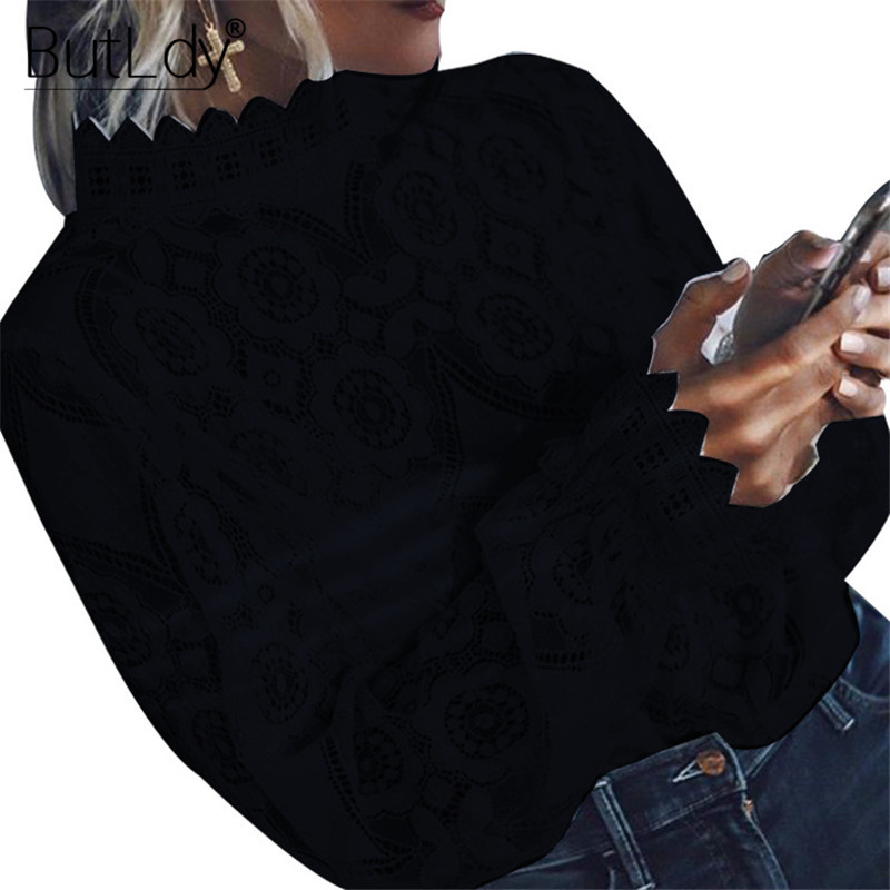 Transparent Sexy See Through Shirt Women Embroidery Lace Hollow Out Long Sleeve Summer Blouse 2019 Stand Collar Casual Shirt Top in Blouses amp Shirts from Women 39 s Clothing