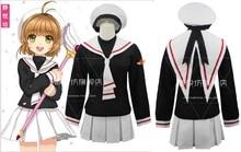 CARDCAPTOR Card Captor SAKURA KINOMOTO SAKURA Cosplay disfraz Chica de Anime uniforme escolar abrigo + falda + sombrero + pista
