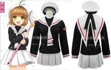 CARDCAPTOR Card Captor SAKURA KINOMOTO SAKURA przebranie na karnawał dziewczyna Anime szkolna kurtka z kompletu + spódnica + czapka + tor