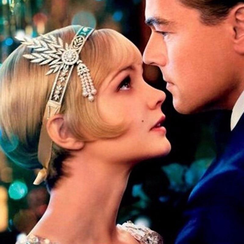 1920s The Great Gatsby Hair Accessories Pearl Tel Leaf Headpiece Headband Wedding Head Jewelry Bridal Crystal Tiara Hairband In From
