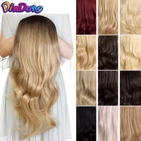 """DinDong 24"""" Half Wigs With Clip in Hair Extensions Long Full Wavy Hair Black Dark Light Brown 3/4 Synthetic Wigs Heat Resistant"""