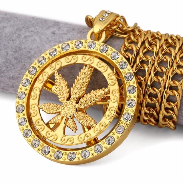 Aliexpress buy 315 long whirligig spin hemp leaf necklaces 315 long whirligig spin hemp leaf necklaces big pendants hip hop bling bling jewelry mens aloadofball Images