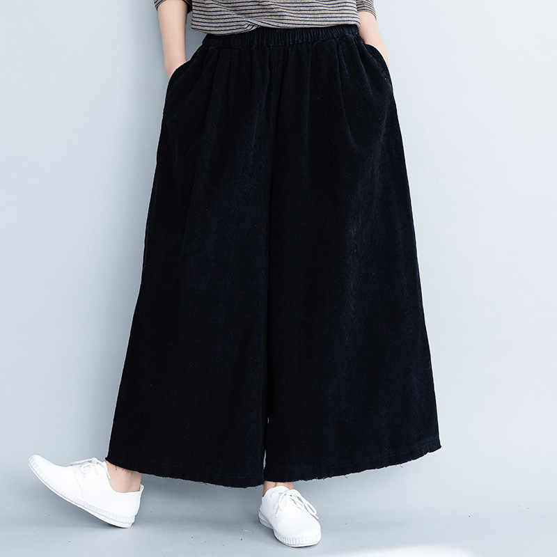 Johnature 2019 New Casual Solid Color Elastic Mid Waist Corduroy Plus Size Women   Pants   Spring Female Korean   Wide     Leg     Pants