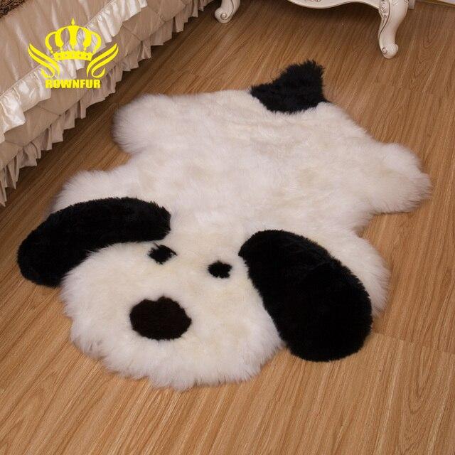 Rownfur 100 Natural Sheepskin Rugs Carpets Lovely Dogs For Kids Room Living Floor Mats