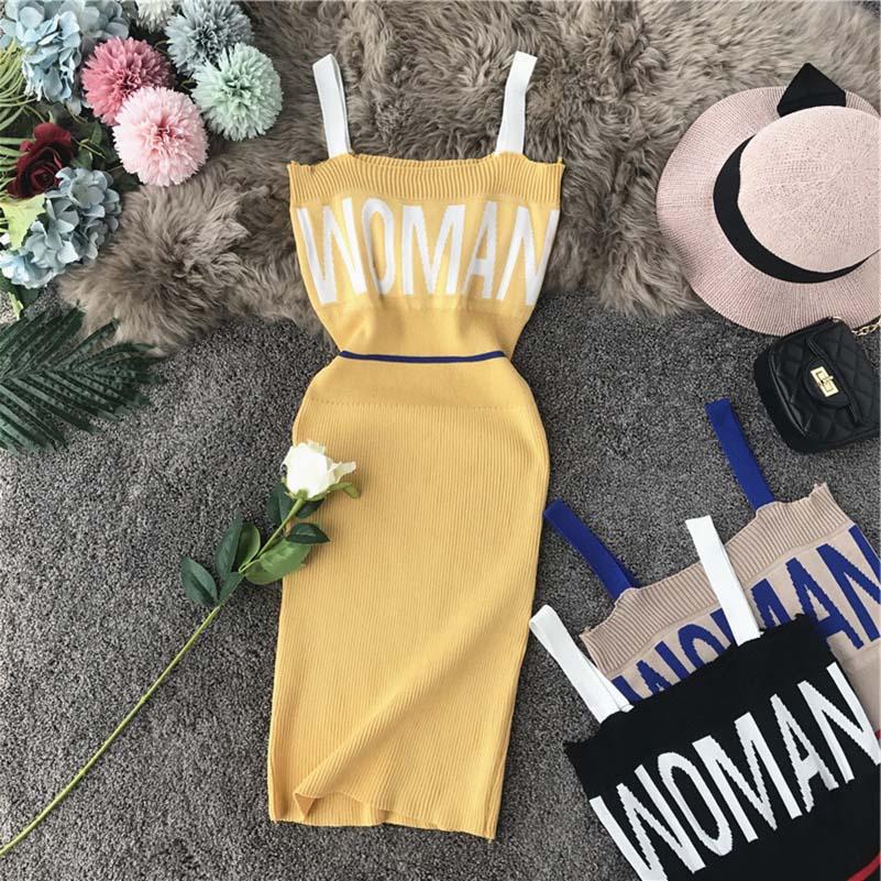 NiceMix Summer Sexy Bodycon Dress Women Spaghetti Strap Stretch Knitted Letter Woman Dresses Vestidos De Fiesta