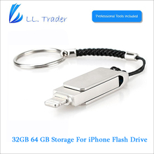 LL трейдер 64 ГБ хранения мини USB Flash Drive брелок для iOS iPhone 5/iPhone 6/iPad мини/iPad Air/MAC/PC Memory Stick флешки