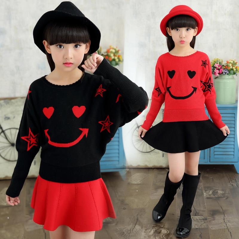 2019 Children's sweater Winter New Girls Sweater Cotton Clothing  Sweater  Hedging Round collar Bat sleeve Children's clothing