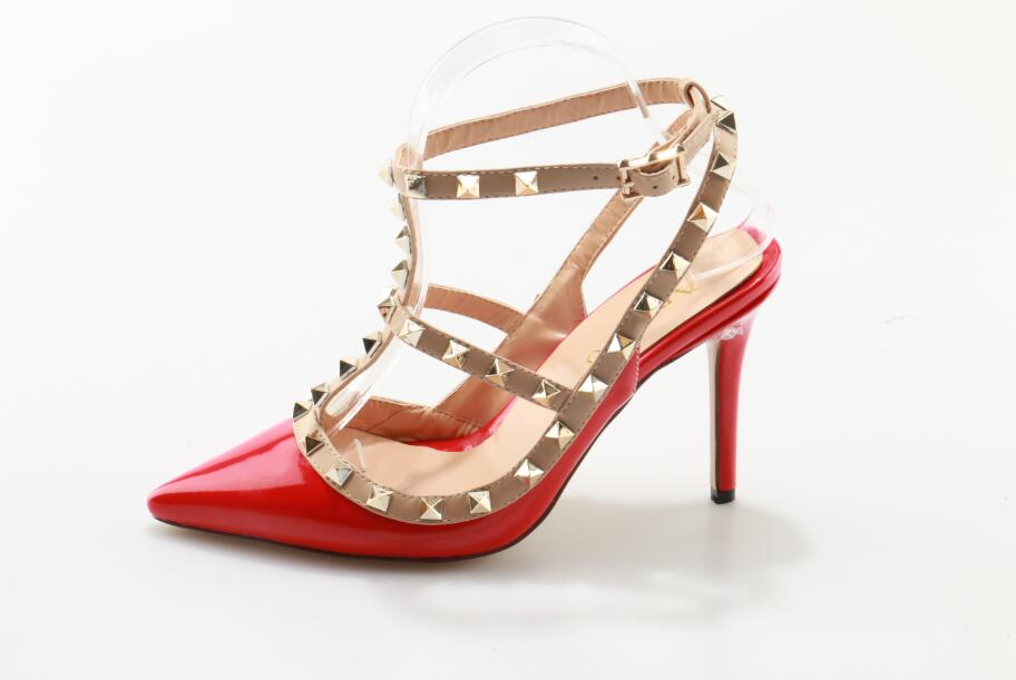 Hot Selling Women Red Sandals Med and Thin Heels Super Fashion pointed Toe Rivets sexy Shoes hot selling sexy sloid thin heels sandals woman new desig lace red white black sandals peep toe elegant for women free sipping