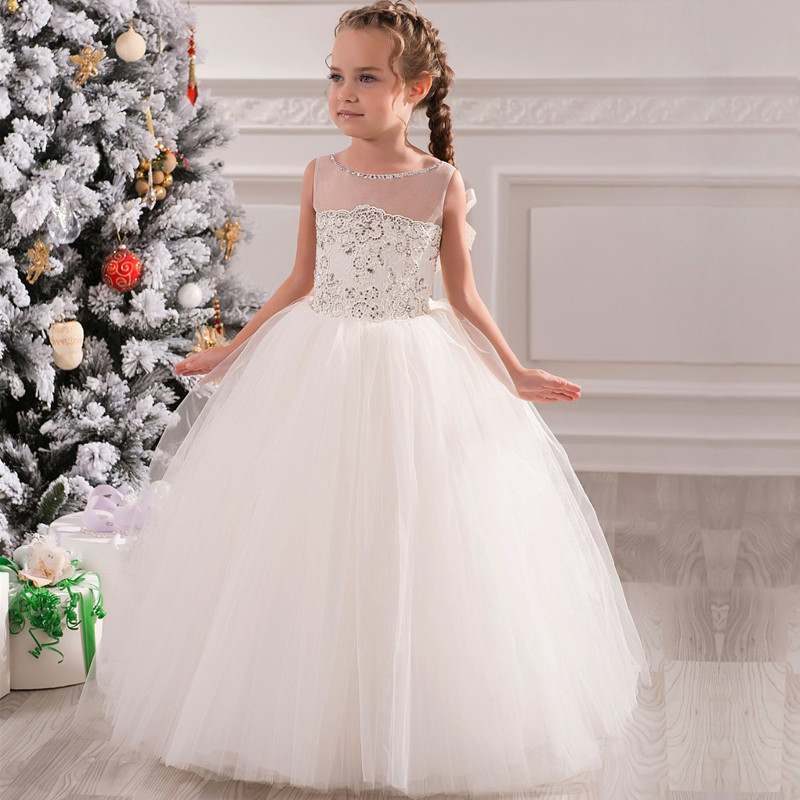 White Puffy Tulle Flower Girl Dress for Wedding Beading Lace Girls Pageant Gown Vestidos De Primera Comunion Any Size 2017 pretty pink first communion dress with bow puffy flower girl dresses girl pageant gown vestido de primera comunion
