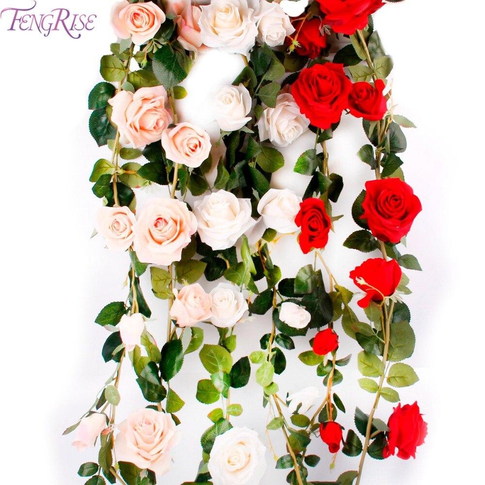FENGRISE 180 cm Artificial Rose Flower Ivy Vine Wedding Decorativo - Para fiestas y celebraciones