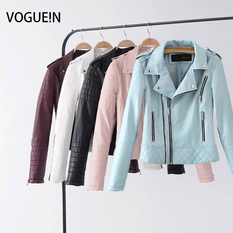 VOGUEIN New Womens Pink Quilted Faux   Leather   Motorcycle Bomber Jacket Outerwear Coat 4 Colors Wholesale