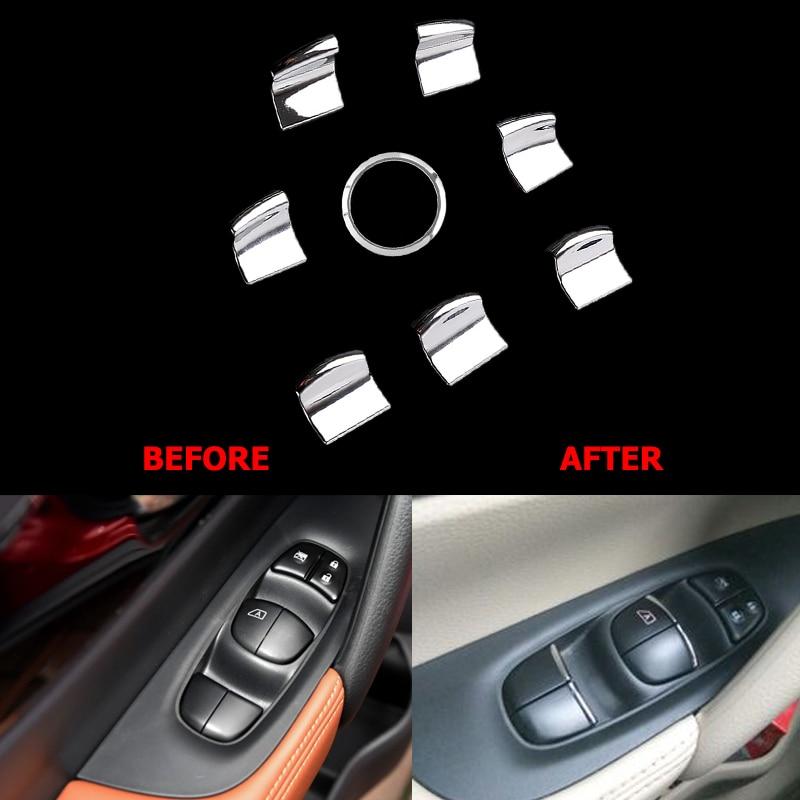 Window Switch Button Cover Sticker Trim For Nissan X-trail T32 X trail Rogue 2014-2017 Teana Altima Qashqai J11 Murano Kicks fit for 14 nissan rogue x trail t32 window rain deflectors visor weather shields lf