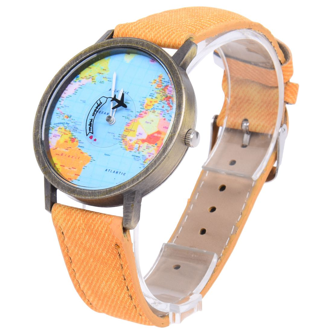Practical Plane World Map Pattern Travel Watches Denim Quartz Watch Cusual Dress Watch