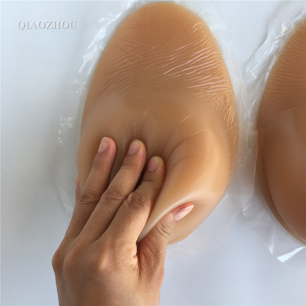 1600g/pair large E cup self adhesive silicone breast form for man crossdressing shemale drag queen artificial boobs suntan skin 1 pair gg cup nude skin tone 2800g silicone breast form with straps